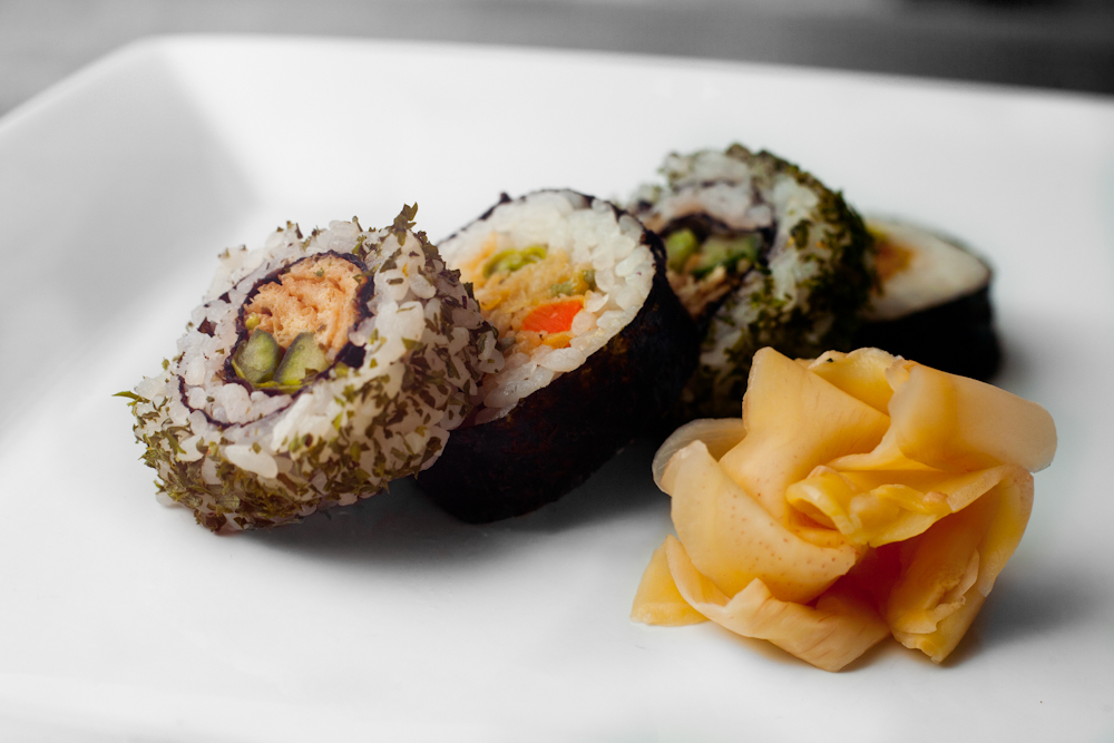 photo of sushi on a white plate